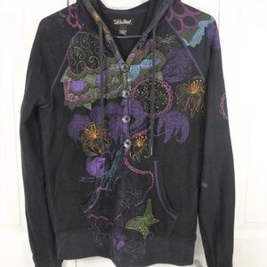Lucky Brand Pullover Hoodie Black w Colors S